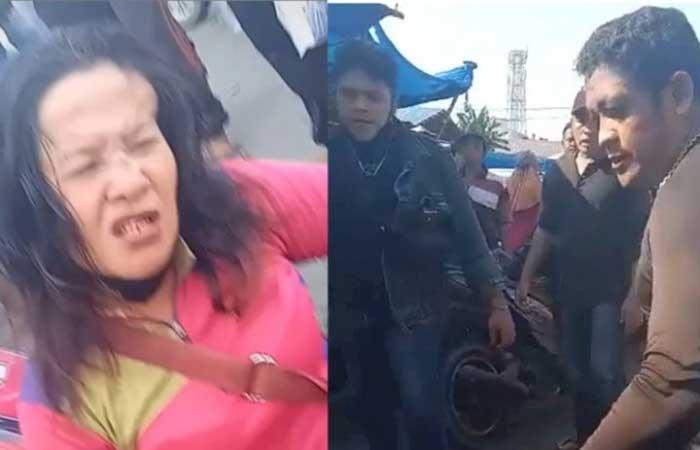 太过分!棉兰两名流氓殴打市场女小贩,求饶了还拳打脚踢